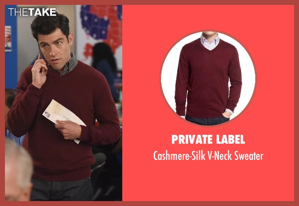 Private Label red sweater from New Girl seen with Schmidt (Max Greenfield)