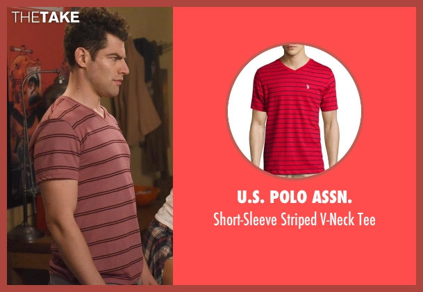 U.S. Polo Assn. red tee from New Girl seen with Schmidt (Max Greenfield)