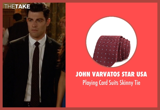 John Varvatos Star USA red tie from New Girl seen with Schmidt (Max Greenfield)
