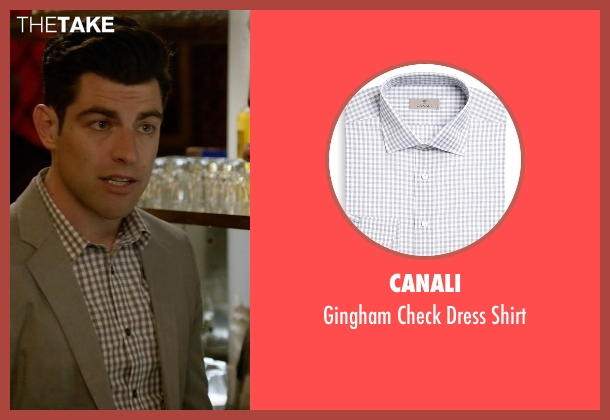 Canali white shirt from New Girl seen with Schmidt (Max Greenfield)
