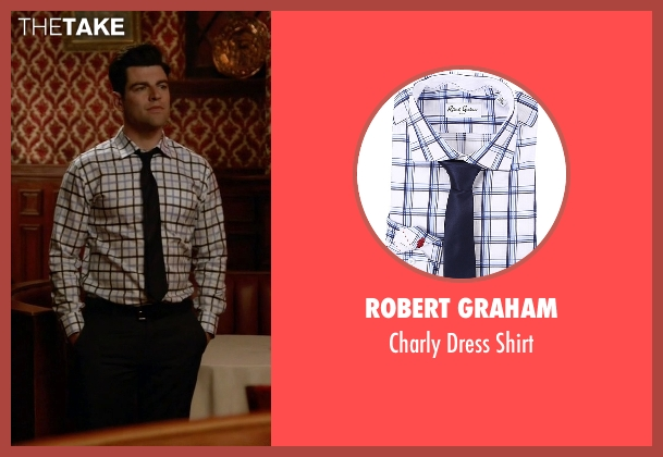 Robert Graham white shirt from New Girl seen with Schmidt (Max Greenfield)