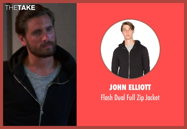 John Elliott black jacket from Keeping Up With The Kardashians seen with Scott Disick