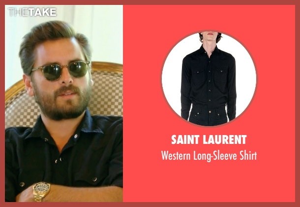 Saint Laurent black shirt from Keeping Up With The Kardashians seen with Scott Disick