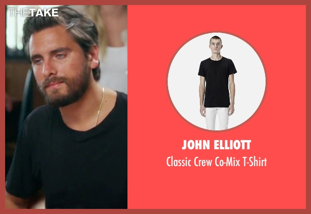 John Elliott black t-shirt from Keeping Up With The Kardashians seen with Scott Disick