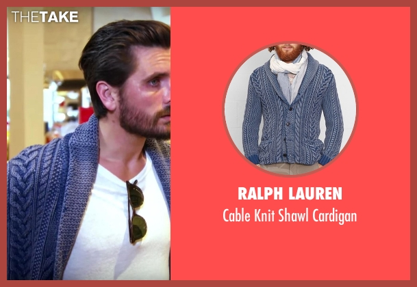 Ralph Lauren blue cardigan from Keeping Up With The Kardashians seen with Scott Disick