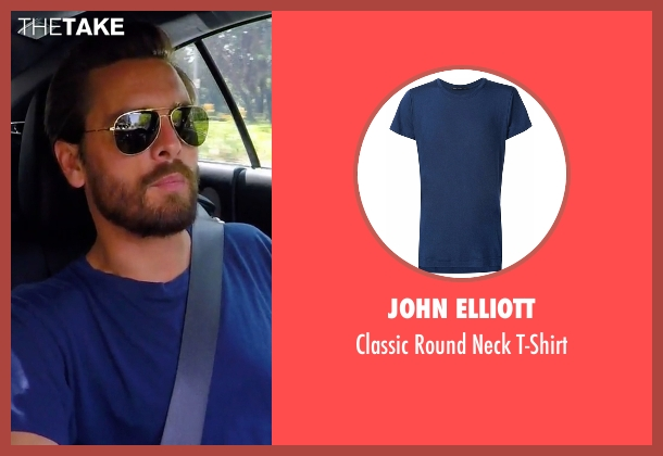John Elliott blue t-shirt from Keeping Up With The Kardashians seen with Scott Disick