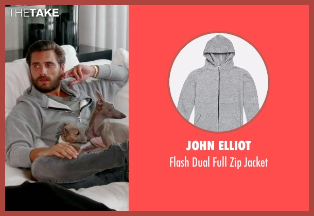 John Elliot gray jacket from Keeping Up With The Kardashians seen with Scott Disick