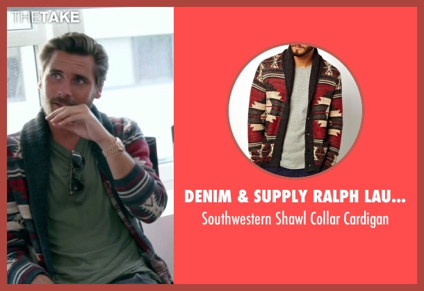 Denim & Supply Ralph Lauren red cardigan from Keeping Up With The Kardashians seen with Scott Disick
