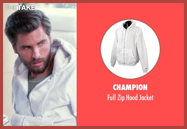 Champion white jacket from Keeping Up With The Kardashians seen with Scott Disick