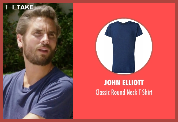 John Elliott blue t-shirt from Rob & Chyna seen with Scott Disick