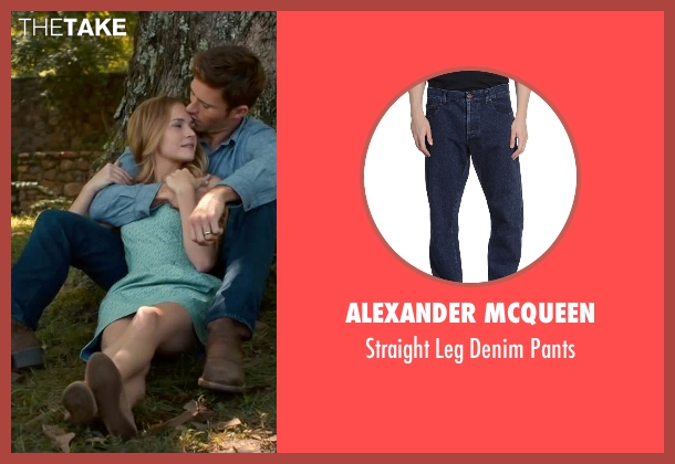Alexander Mcqueen blue pants from The Longest Ride seen with Scott Eastwood (Luke Collins)