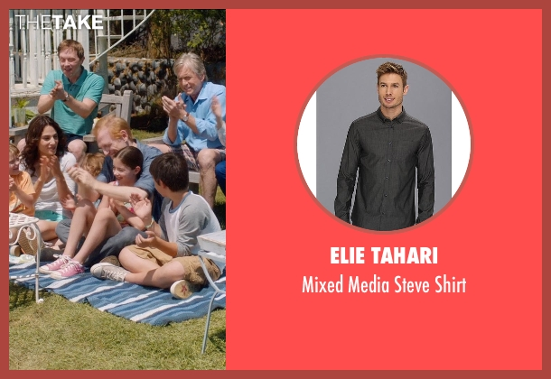 Elie Tahari gray shirt from And So It Goes seen with Scott Shepherd