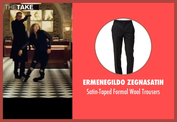 Ermenegildo Zegnasatin black trousers from Mission: Impossible - Rogue Nation seen with Sean Harris (Solomon Lane)