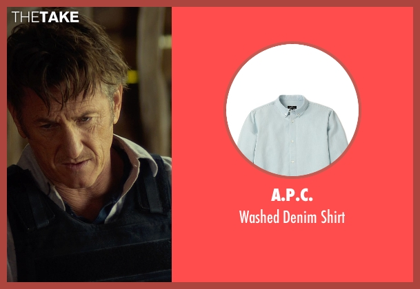 A.P.C. blue shirt from The Gunman seen with Sean Penn (Jim Terrier)