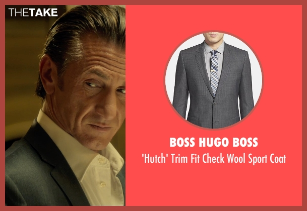 Boss Hugo Boss gray coat from The Gunman seen with Sean Penn (Jim Terrier)