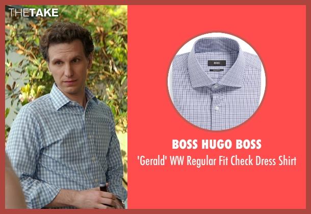 Boss Hugo Boss blue shirt from The Best of Me seen with Sebastian Arcelus (Frank)