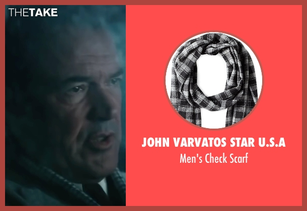 John Varvatos Star U.S.A black scarf from Bridge of Spies seen with Sebastian Koch (Wolfgang Vogel)
