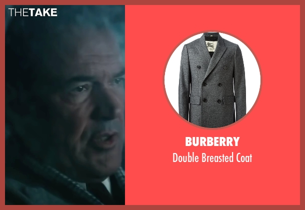 Burberry gray coat from Bridge of Spies seen with Sebastian Koch (Wolfgang Vogel)