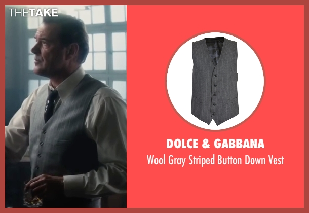 Dolce & Gabbana gray vest from Bridge of Spies seen with Sebastian Koch (Wolfgang Vogel)
