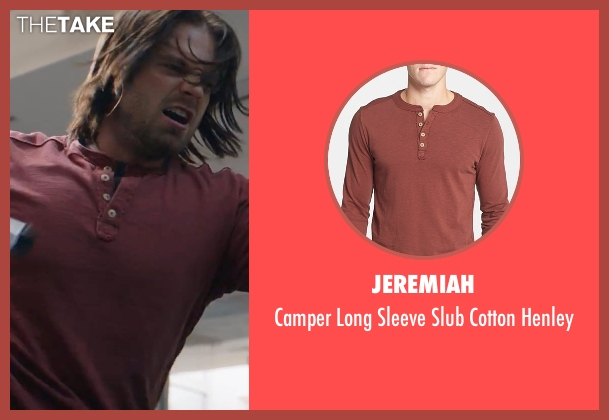 Jeremiah red shirt from Captain America: Civil War seen with Sebastian Stan (Bucky Barnes / Winter Soldier)
