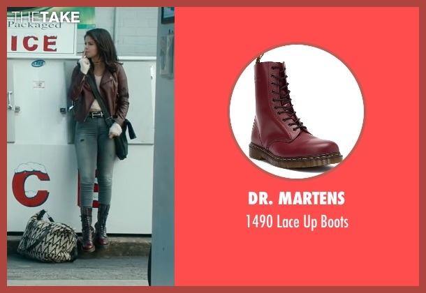 Dr. Martens red boots from The Fundamentals of Caring seen with Selena Gomez (Dot)