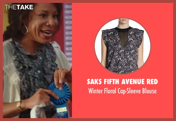 Saks Fifth Avenue Red black blouse from Sex and the City 2 seen with Selenis Leyva (Teacher)