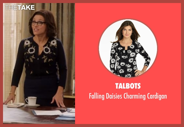 Talbots black cardigan from Veep seen with Selina Meyer (Julia Louis-Dreyfus)