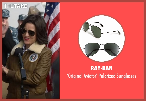 Ray-Ban black sunglasses from Veep seen with Selina Meyer (Julia Louis-Dreyfus)