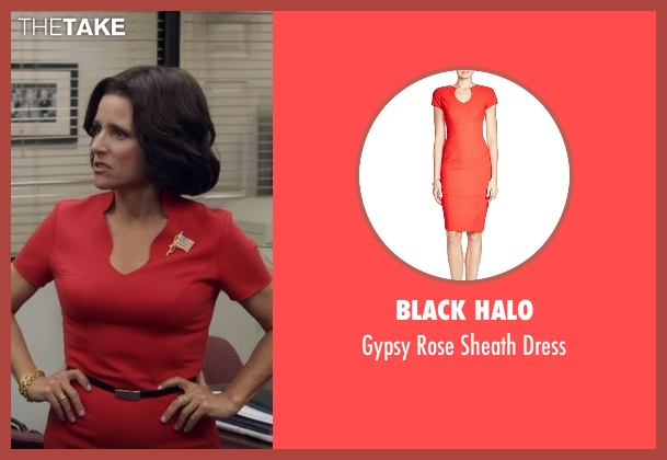 Black Halo red dress from Veep seen with Selina Meyer (Julia Louis-Dreyfus)
