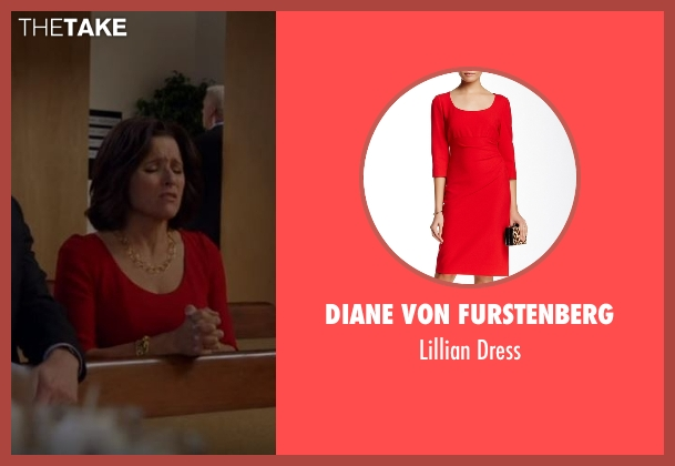 Diane Von Furstenberg red dress from Veep seen with Selina Meyer (Julia Louis-Dreyfus)
