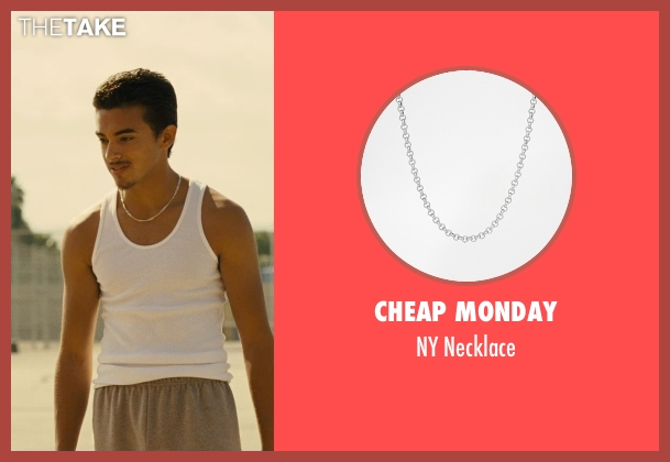 Cheap Monday silver necklace from McFarland, USA seen with Sergio Avelar (Victor Puentes)