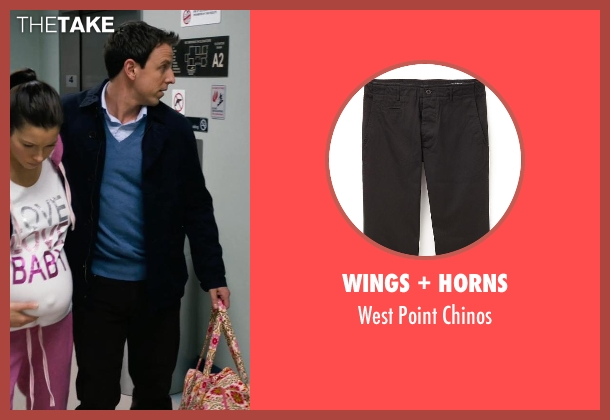 Wings + Horns black chinos from New Year's Eve seen with Seth Meyers (Griffin Byrne)