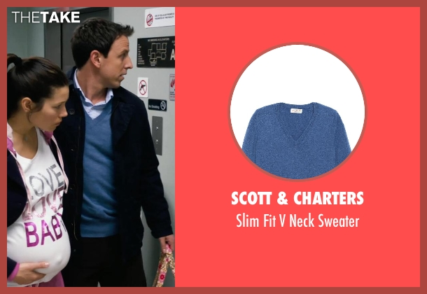 Scott & Charters blue sweater from New Year's Eve seen with Seth Meyers (Griffin Byrne)