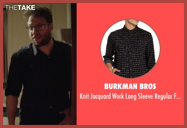 Burkman Bros black shirt from Neighbors 2: Sorority Rising seen with Seth Rogen (Mac Radner)
