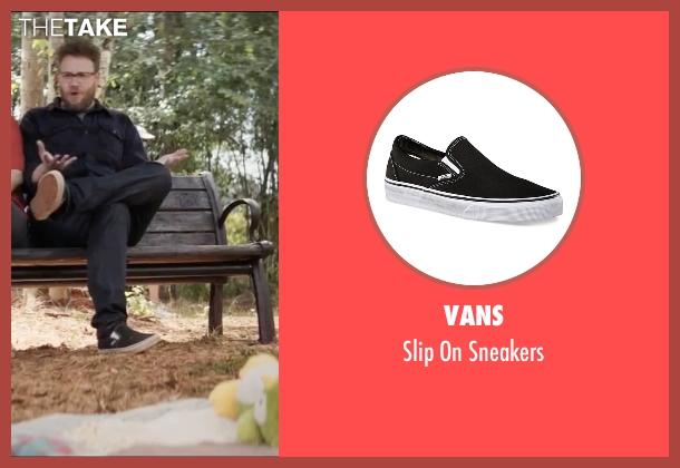 Vans black sneakers from Neighbors 2: Sorority Rising seen with Seth Rogen (Mac Radner)