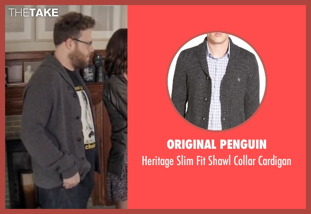 Original Penguin gray cardigan from Neighbors 2: Sorority Rising seen with Seth Rogen (Mac Radner)