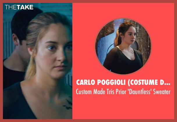Carlo Poggioli (Costume Designer) black sweater from Divergent seen with Shailene Woodley (Beatrice 'Tris' Prior)