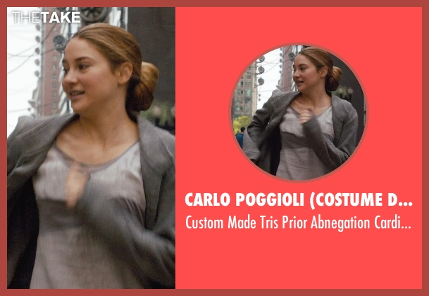 Carlo Poggioli (Costume Designer) gray cardigan from Divergent seen with Shailene Woodley (Beatrice 'Tris' Prior)