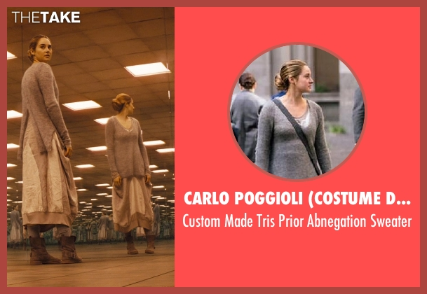 Carlo Poggioli (Costume Designer) gray sweater from Divergent seen with Shailene Woodley (Beatrice 'Tris' Prior)