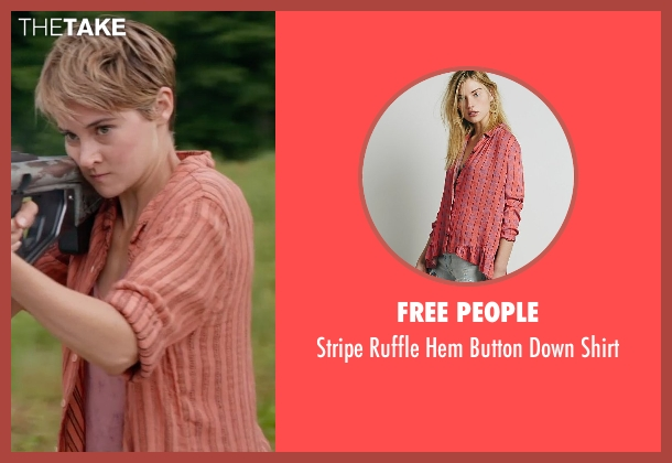 Free People pink shirt from The Divergent Series: Insurgent seen with Shailene Woodley (Beatrice 'Tris' Prior)