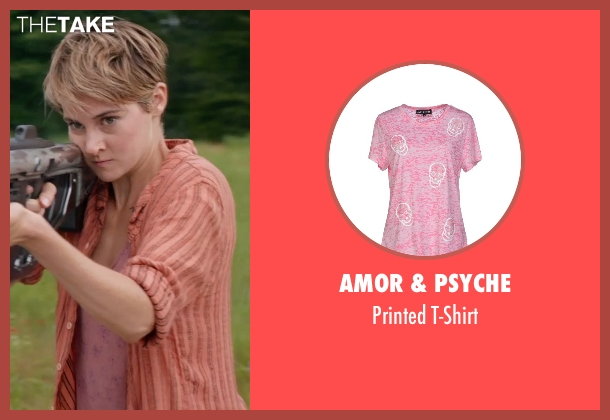 Amor & Psyche pink t-shirt from The Divergent Series: Insurgent seen with Shailene Woodley (Beatrice 'Tris' Prior)