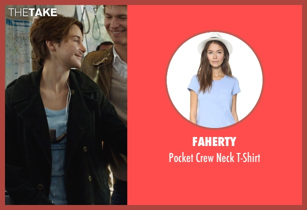 Faherty blue t-shirt from The Fault In Our Stars seen with Shailene Woodley (Hazel Grace Lancaster)