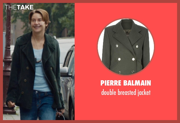 PIERRE BALMAIN green jacket from The Fault In Our Stars seen with Shailene Woodley (Hazel Grace Lancaster)
