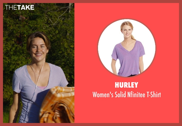 Hurley purple t-shirt from The Fault In Our Stars seen with Shailene Woodley (Hazel Grace Lancaster)