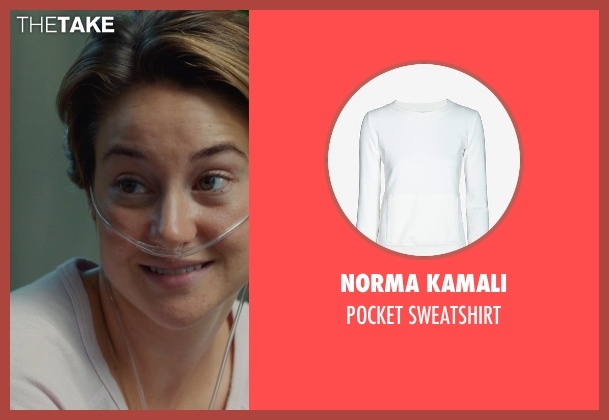 NORMA KAMALI white sweatshirt from The Fault In Our Stars seen with Shailene Woodley (Hazel Grace Lancaster)