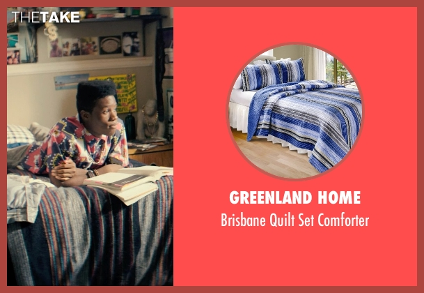 Greenland Home blue comforter from Dope seen with Shameik Moore (Malcolm)