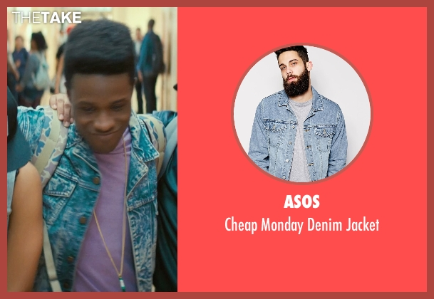 Asos blue jacket from Dope seen with Shameik Moore (Malcolm)
