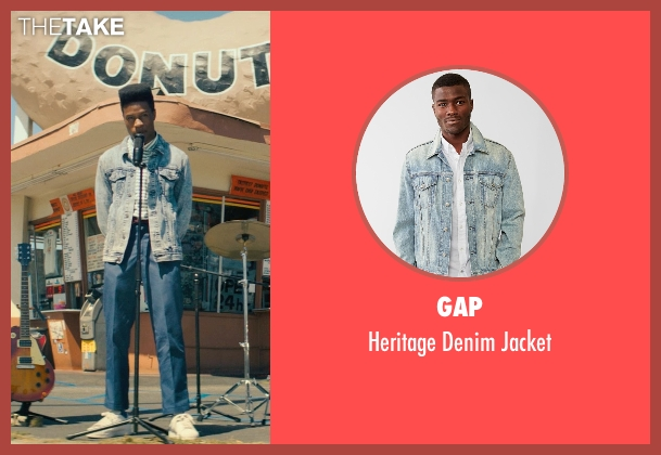 Gap blue jacket from Dope seen with Shameik Moore (Malcolm)
