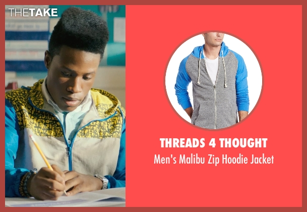 Threads 4 Thought blue jacket from Dope seen with Shameik Moore (Malcolm)