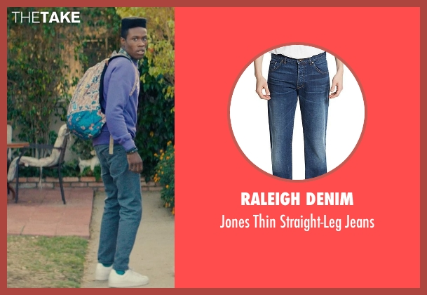 Raleigh Denim blue jeans from Dope seen with Shameik Moore (Malcolm)